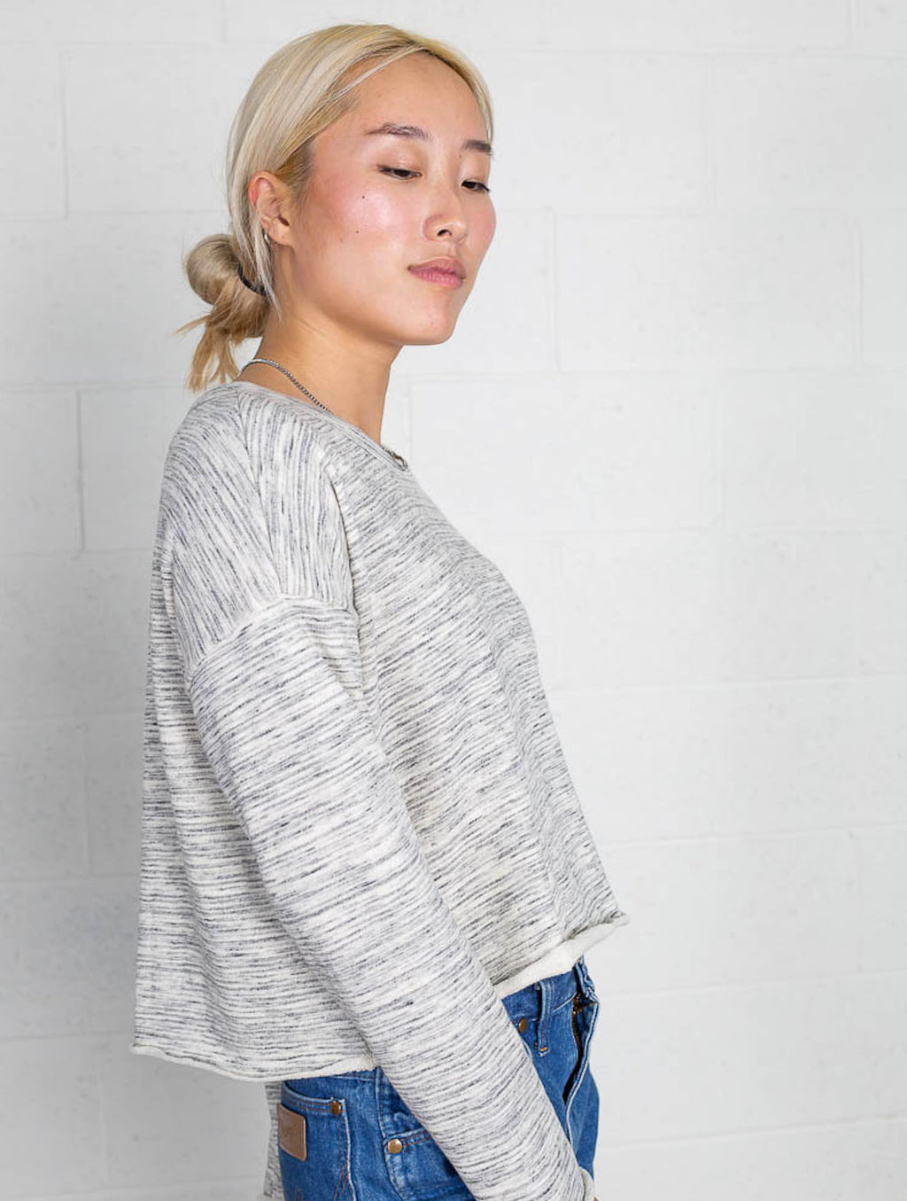 No Less Than Cropped Terry Sweatshirt in Marbled Grey
