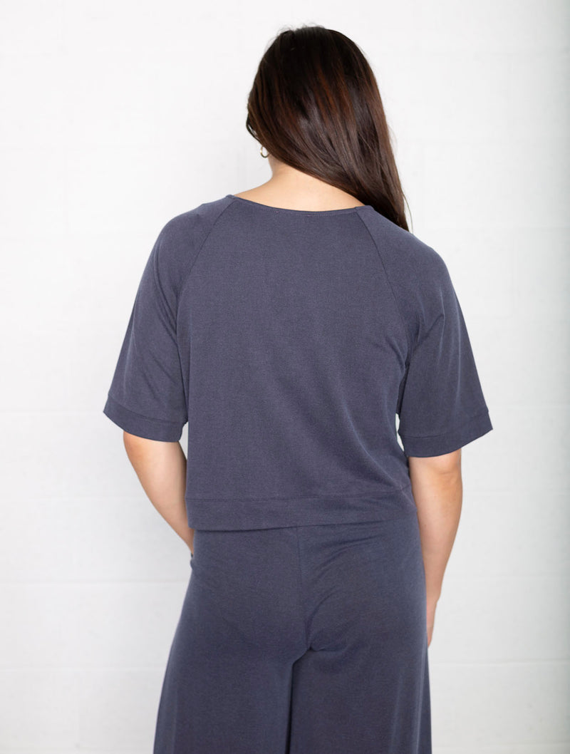 No Less Than Boxy Terry Top in Navy