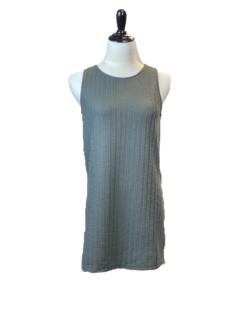 No Less Than High Neck Tank in Charcoal