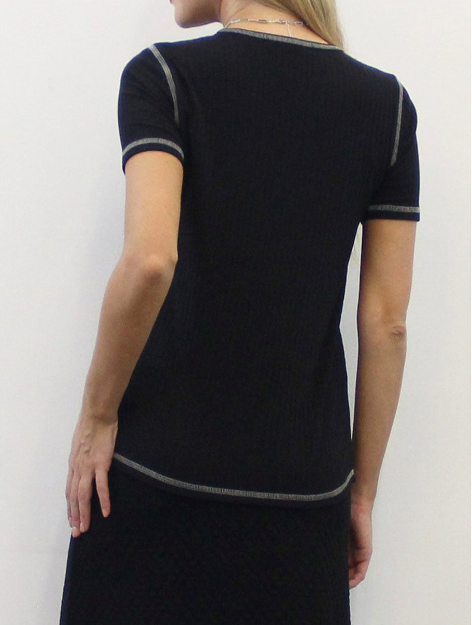 Coin 1804 Ribbed Tee in Black