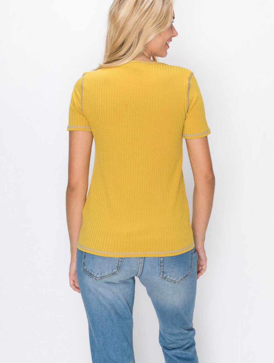 Coin 1804 Ribbed Tee in Mustard