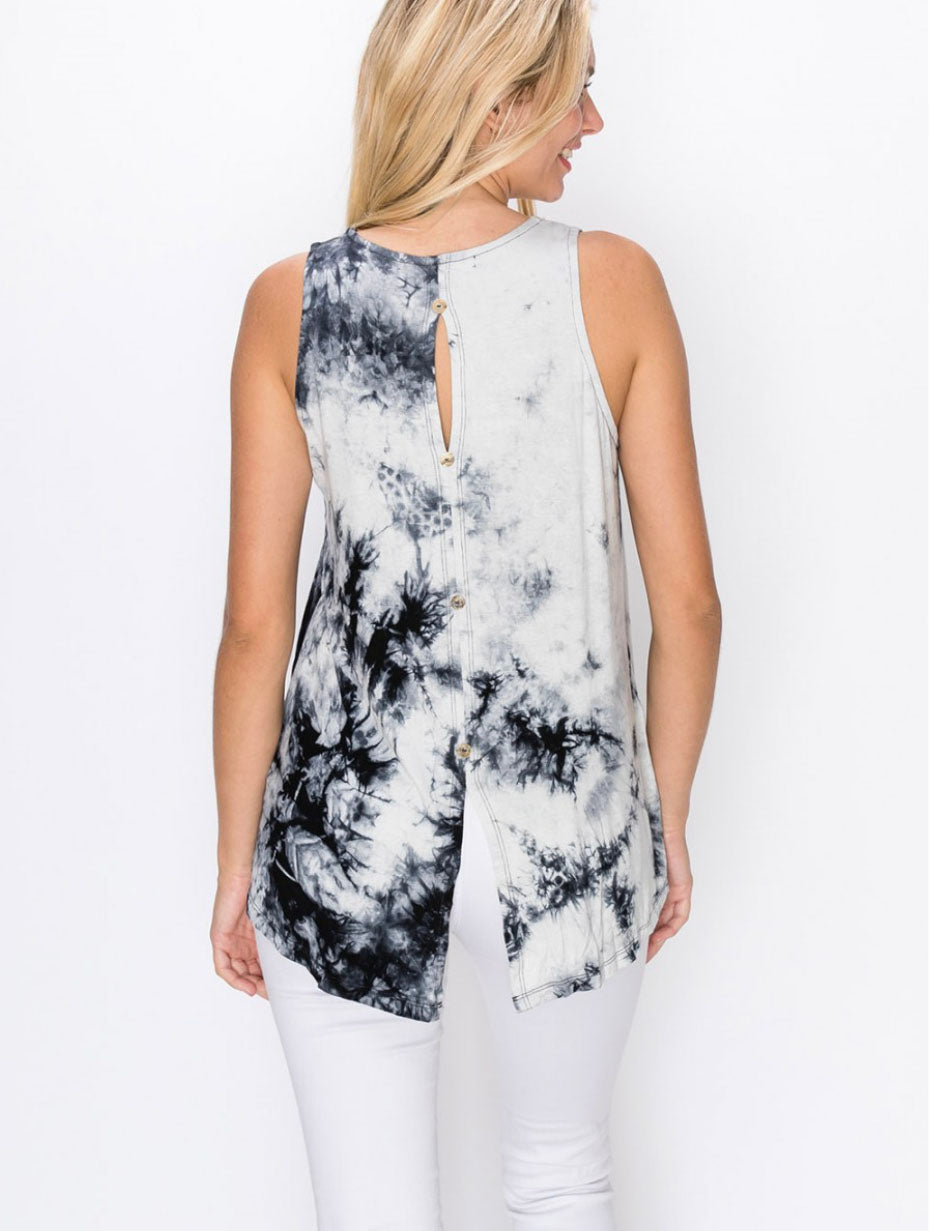 Coin 1804 Tie Dye Button Back Tank in Grey/Black