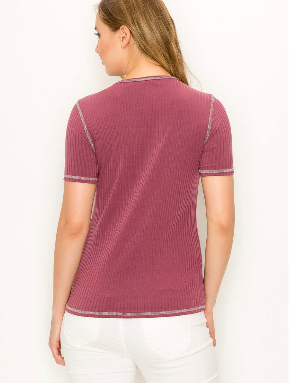 Coin 1804 Ribbed Tee in Raisin