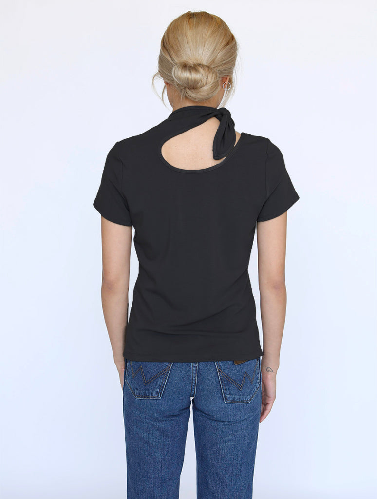 No Less Than NLT Tie Neck Tee in Black