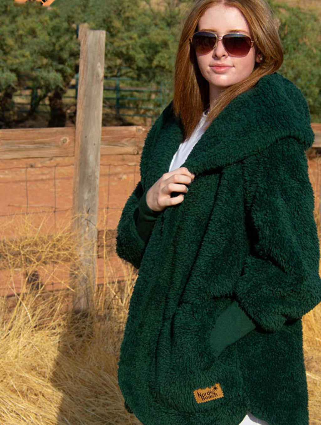 Nordic Beach Wrap in Forest Emerald