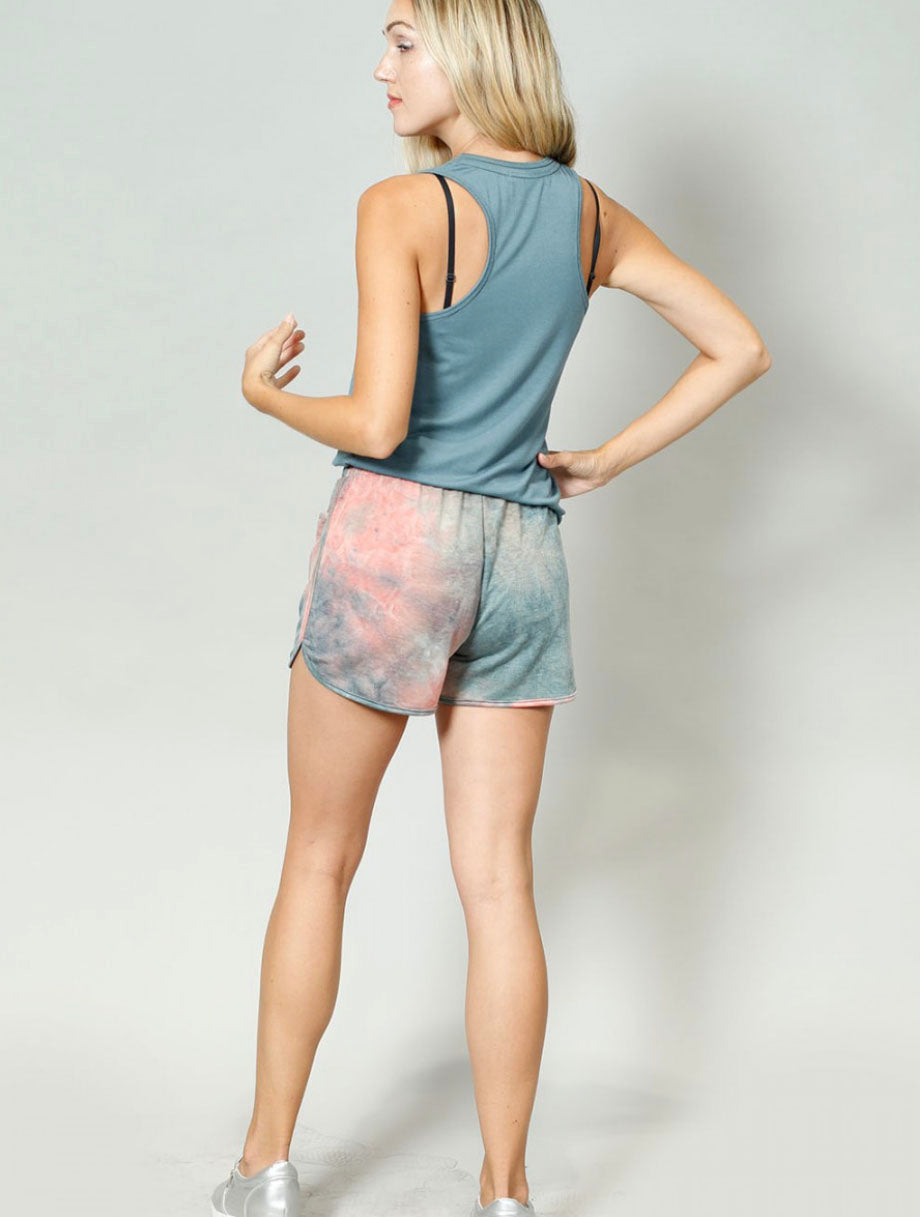 Coin 1804 Tie Dye Short in Teal Multi
