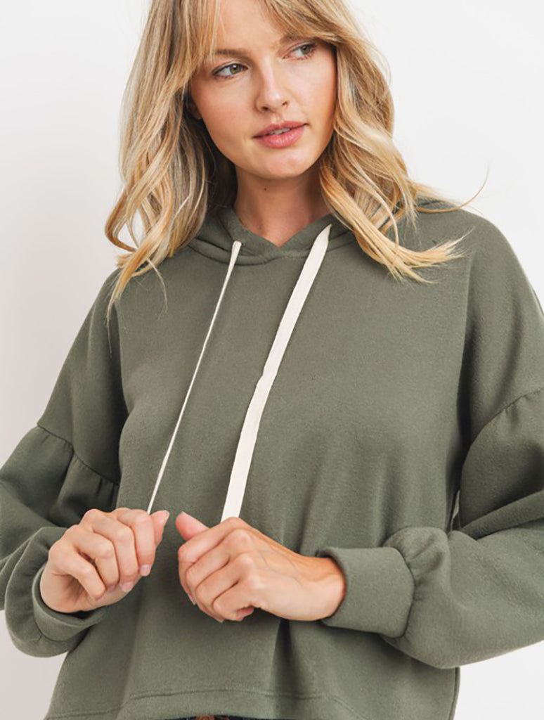 Paper Crane Bubble Sleeve Fleece Hoodie in Olive