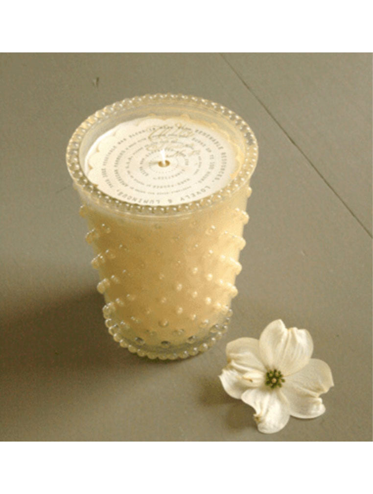 Simpatico Hobnail Glass Candle in White Flower