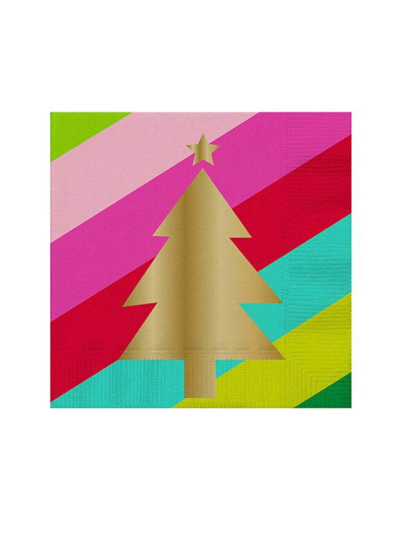 Xmas Tree Napkins in Rainbow/Gold