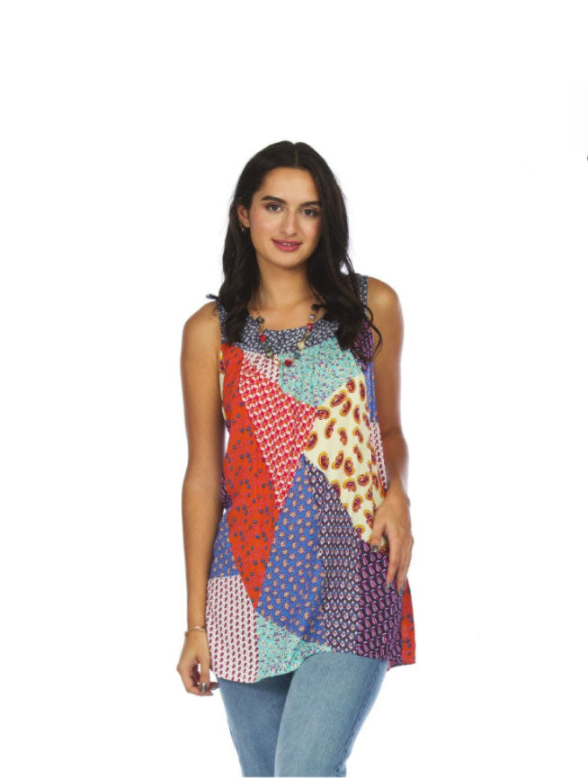 Papillon Patchwork Tunic in Blue Multi