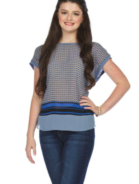 Papillon Jersey Print Top in Denim