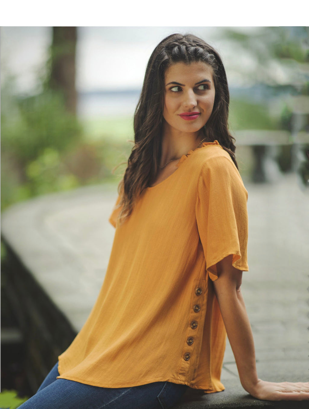 Papillon Button Blouse in Yellow