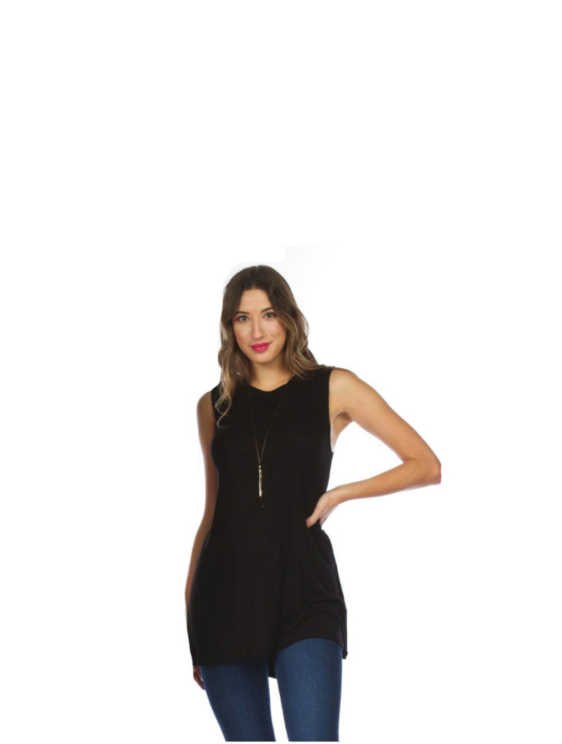 Papillon Ribbed Tunic in Black