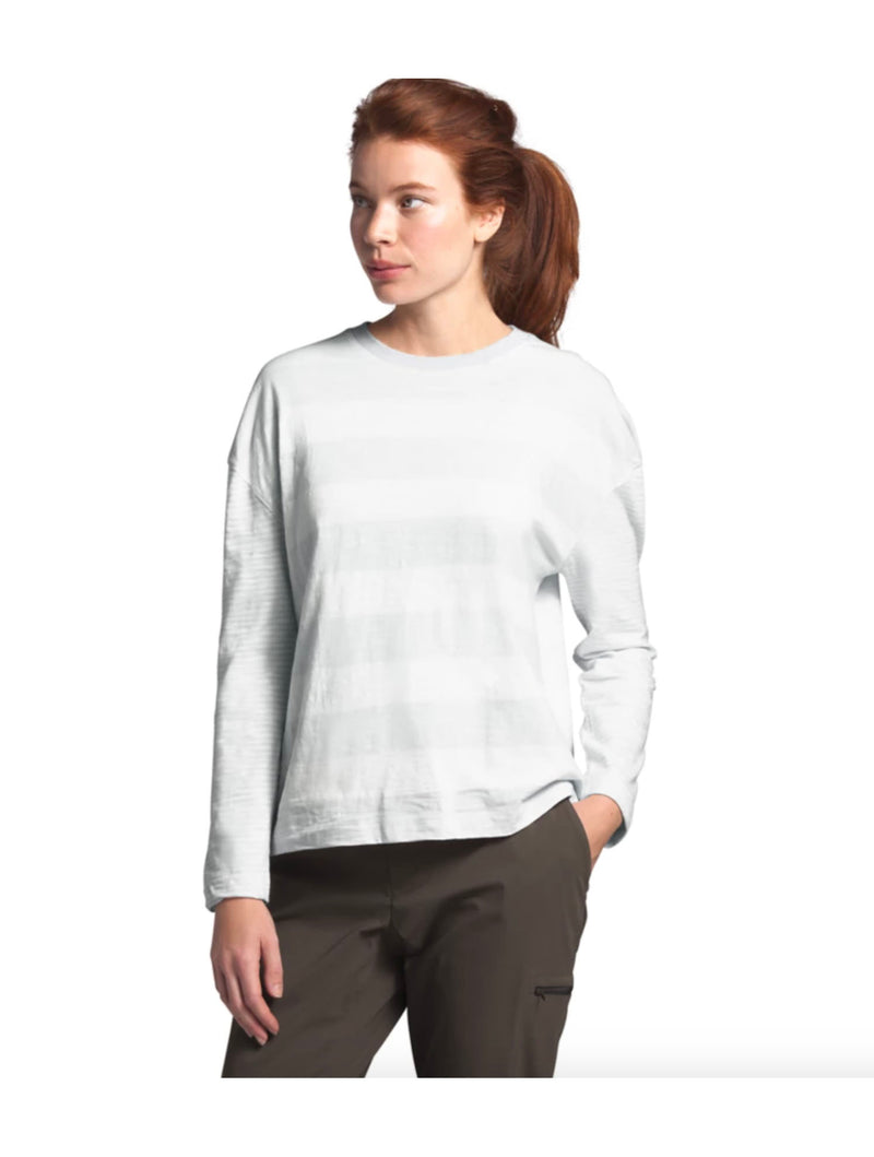 North Face Long Sleeve Striped Top in Tin Grey