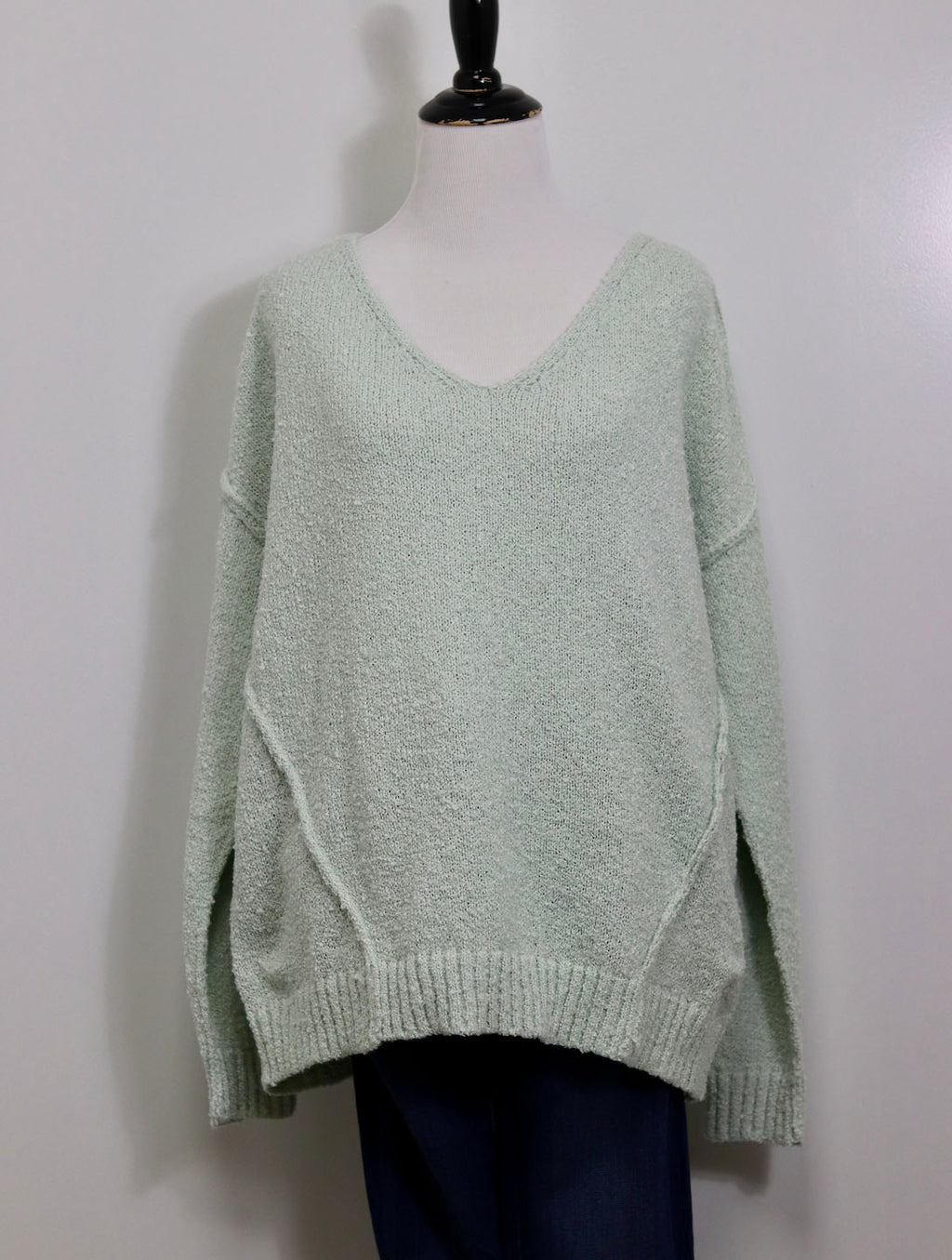 Woven Heart Raw Seam Sweater in Mint