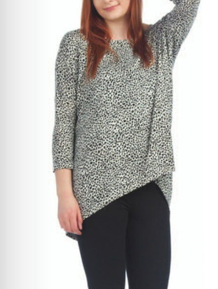 Papillon Dot Tunic in White/Black