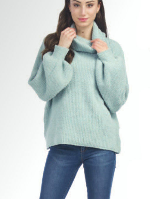 Papillon Cowl Neck Sweater in Seafoam