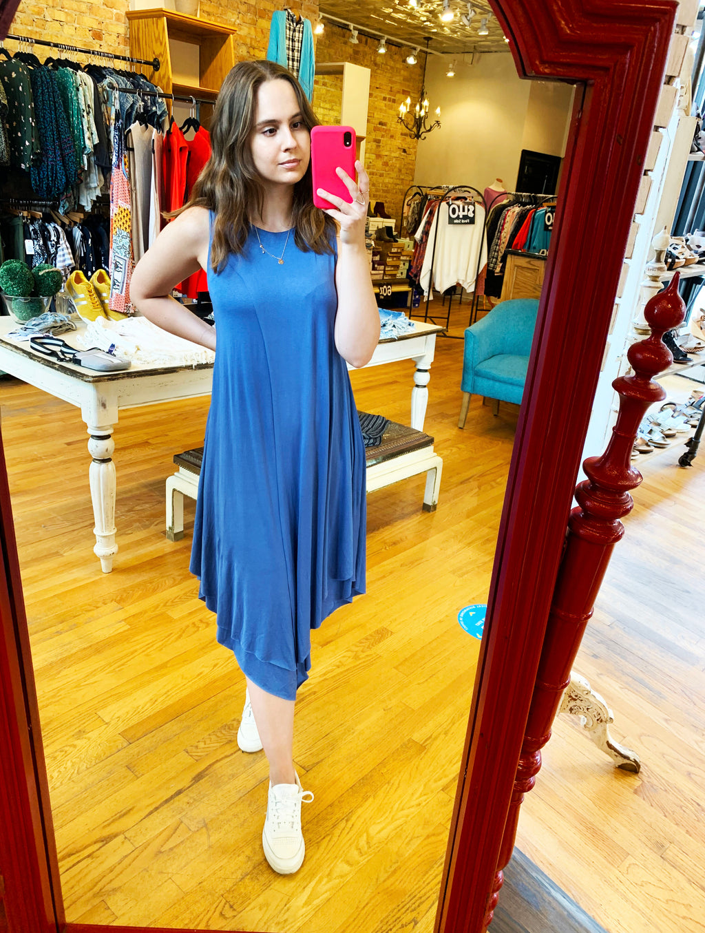 Papillon Asymmetrical Dress in Denim Blue