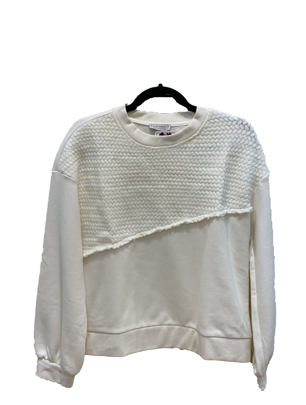 Paper Crane Textured Top in Ivory