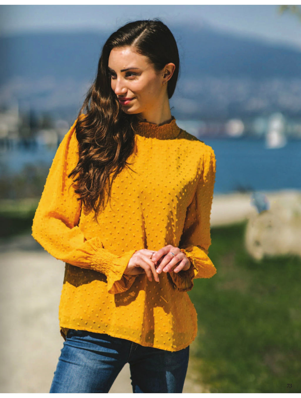 Papillon Mock Neck Blouse in Mustard