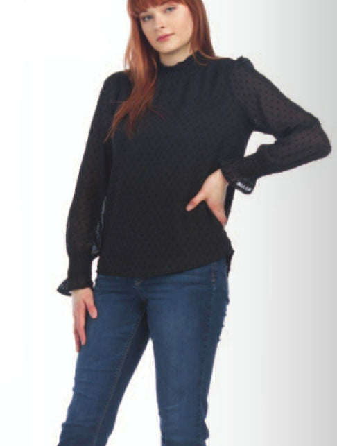 Papillon Mock Neck Blouse in Black