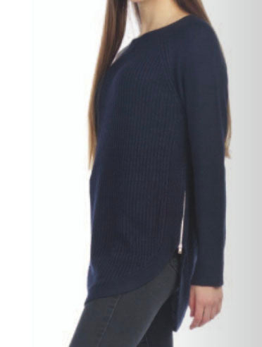 Papillon Zip Side Sweater in Navy