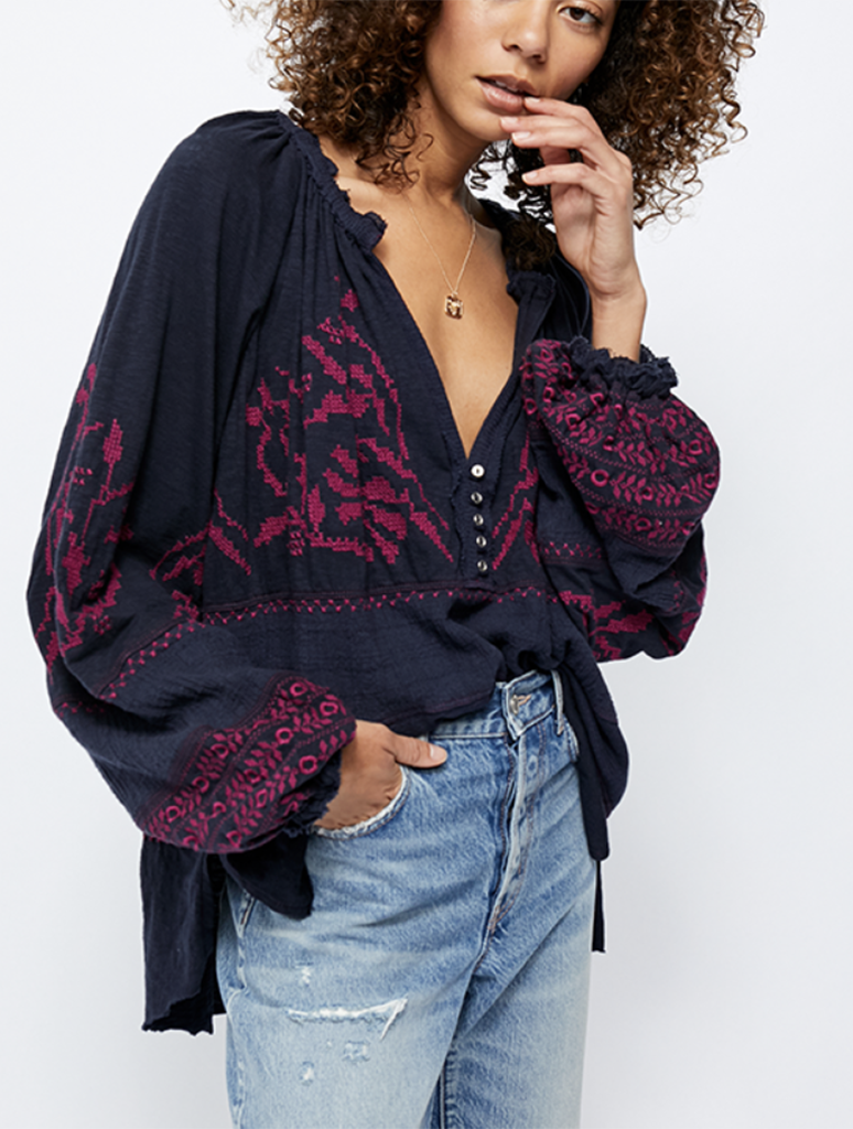 Free People Persuasion Top in Navy