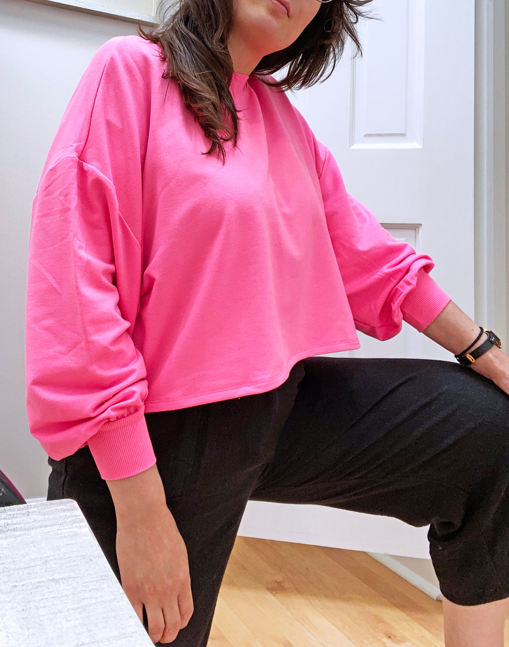 RD Style Cropped Sweatshirt in Neon Pink