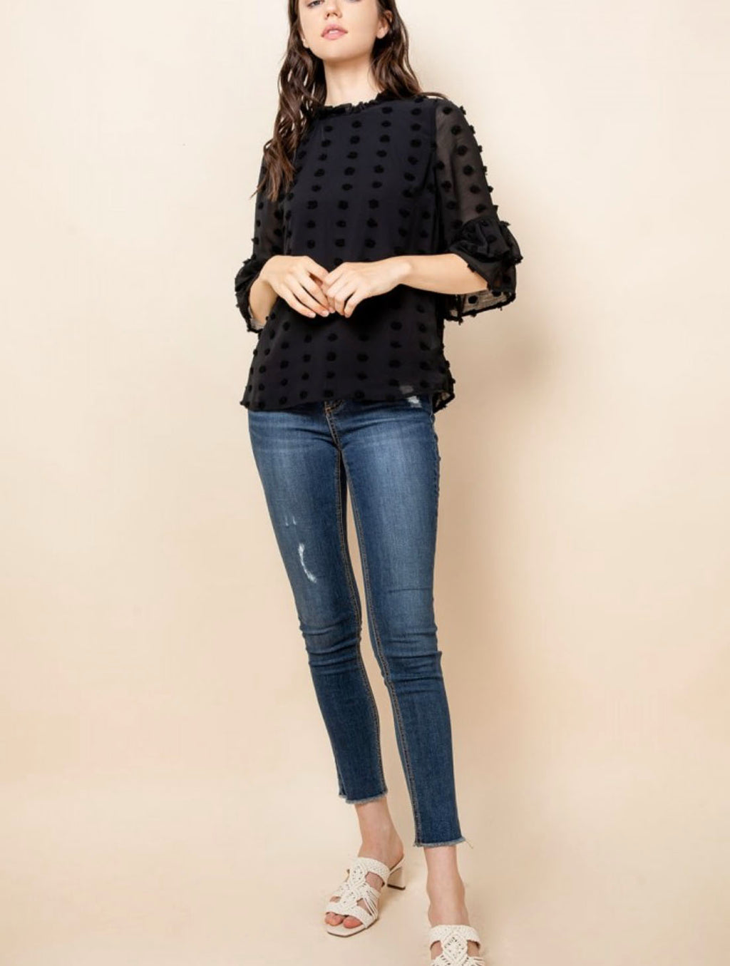 THML Flutter Sleeve Top in Black
