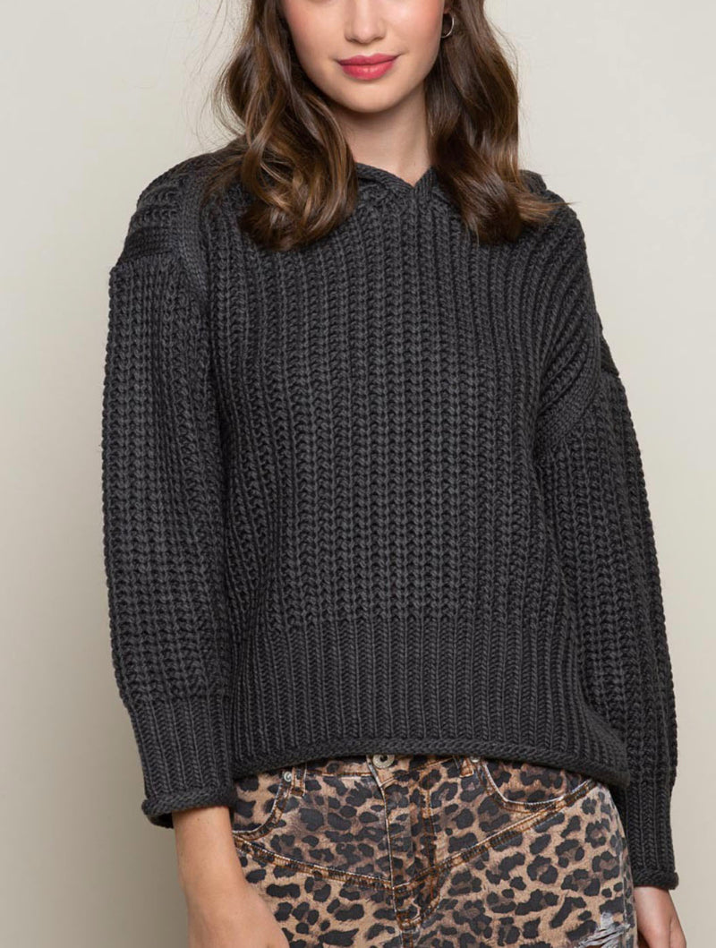 POL Knit Sweater in Charcoal