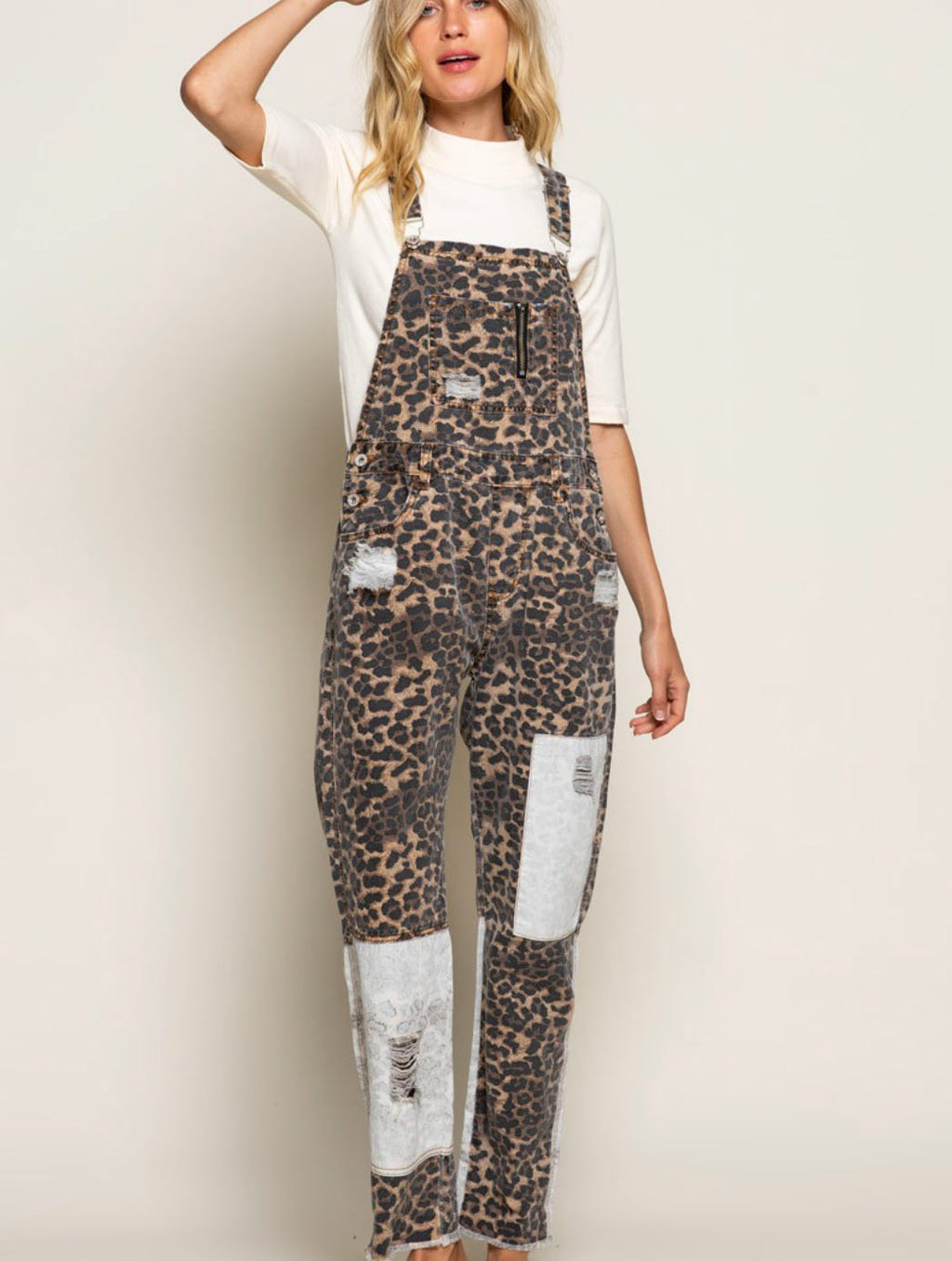 POL Overalls in Camel Leopard