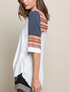 Pol Boho Mixed Media Top in Off White
