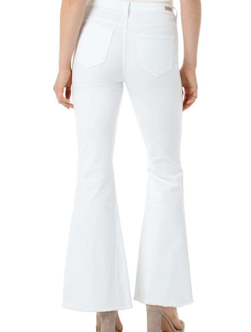 Liverpool High Rise Flare Fray Hem in Bright White