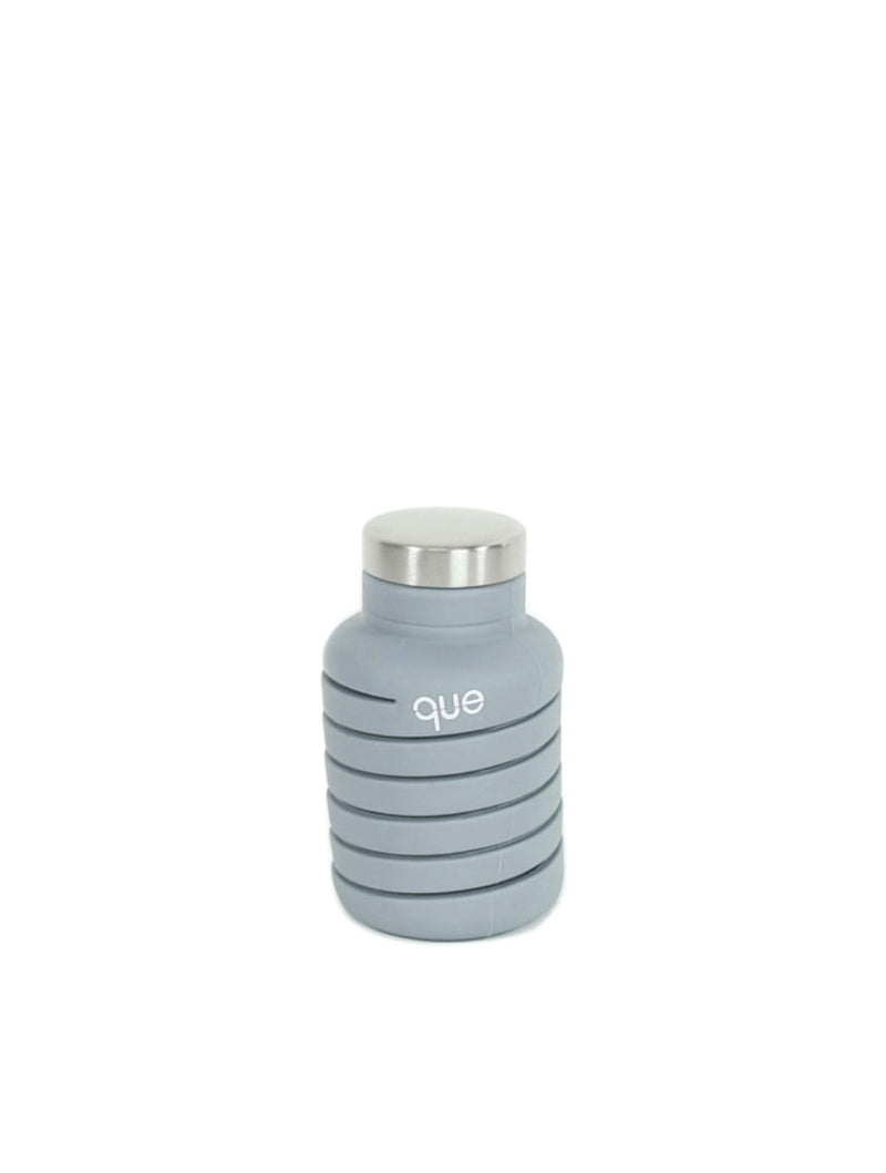 Que Collapsible Silicone 12oz Travel Water Bottle in Grey