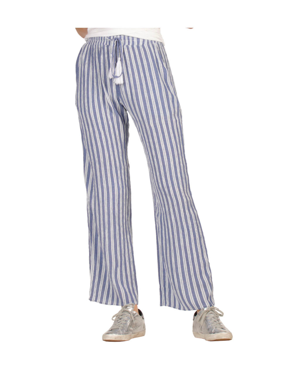 Elan Wide Leg Pant in Blue Stripes