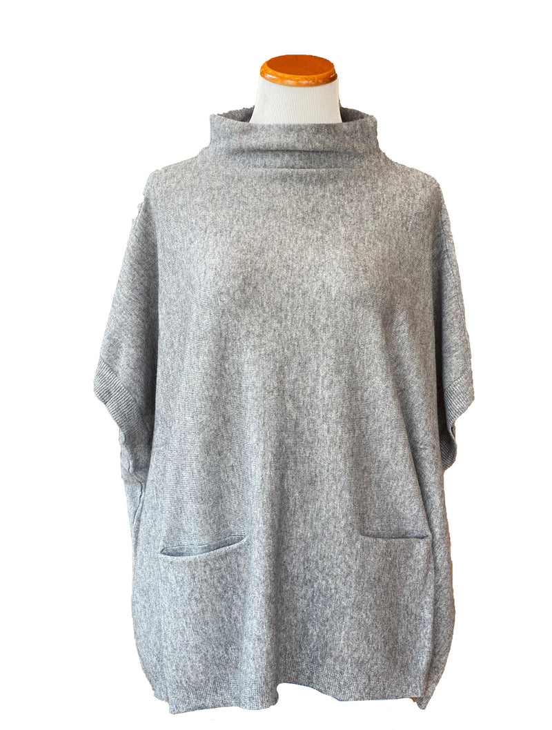 RD Style Knit Poncho in Grey