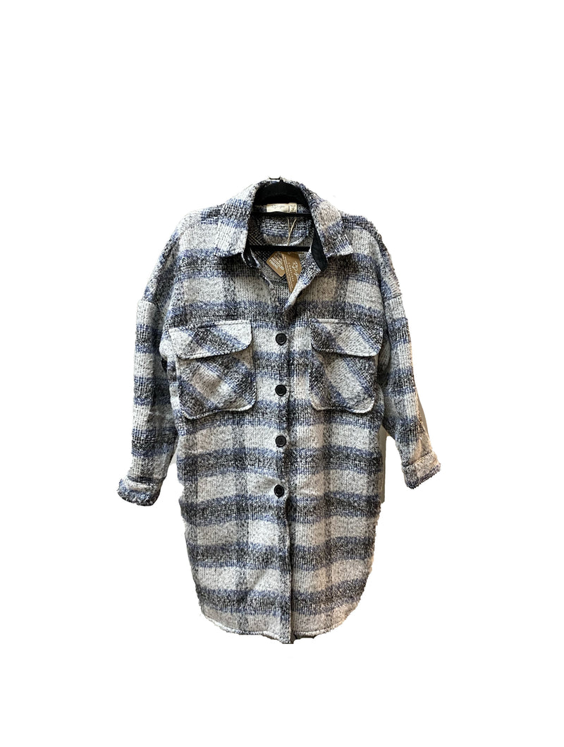 RD Style Woven Coat in Blue Plaid