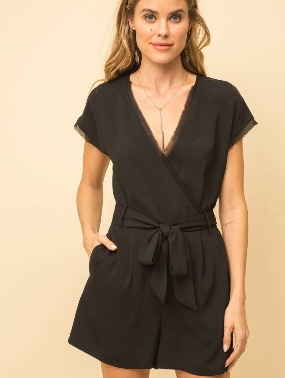 Mystree Wrap Romper in Black