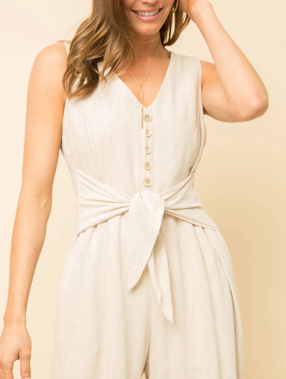 Mystree Linen Jumpsuit in Cream