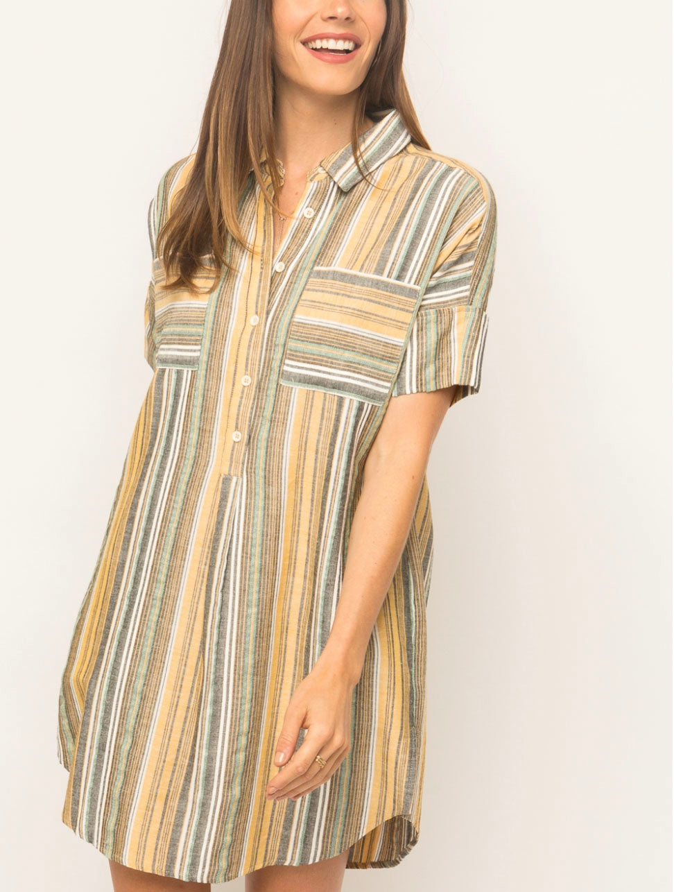 Mystree Shirt Dress in Mustard