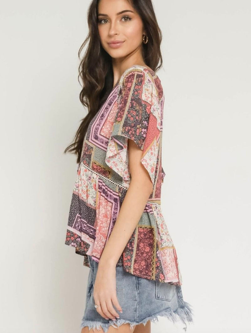 Olivaceous Patchwork Blouse in Pink