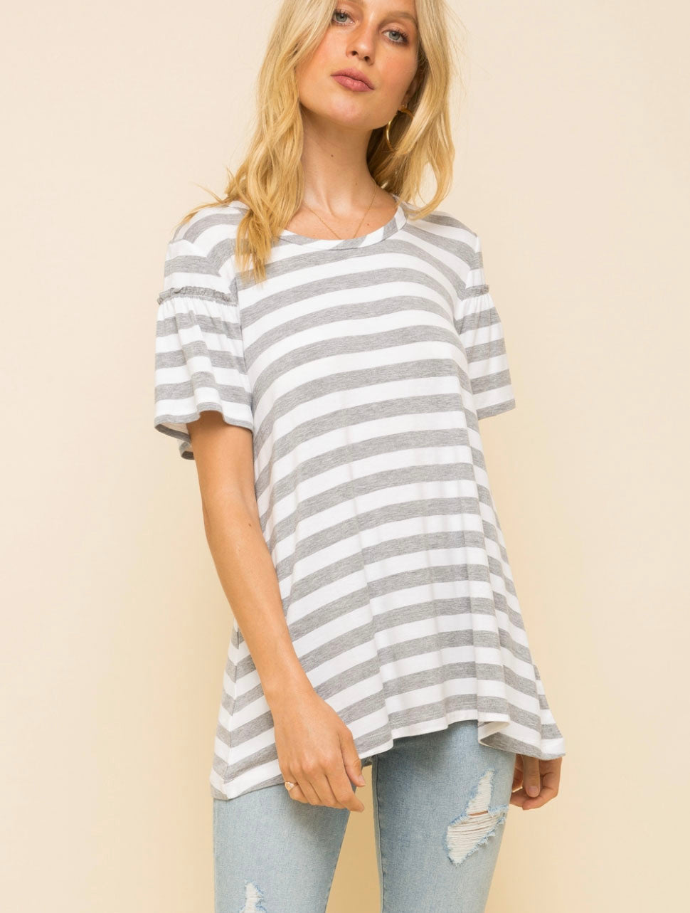 Hem & Thread Striped Ruffle Top in Heather Gray