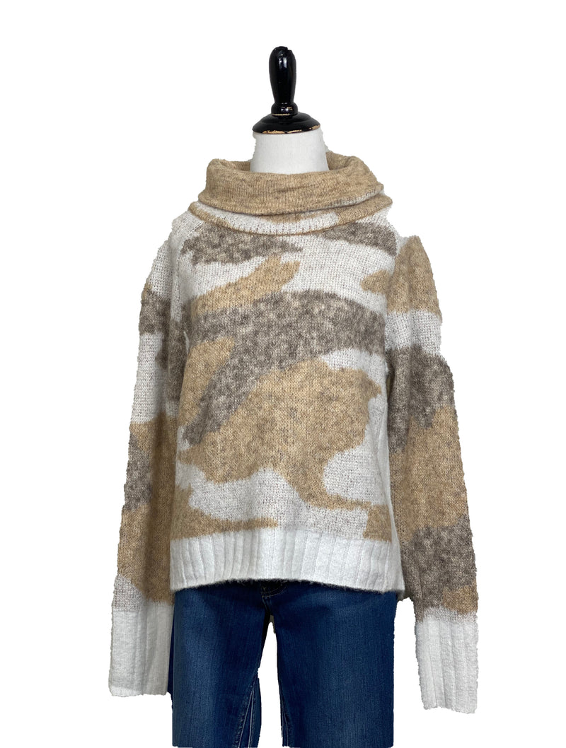 RD Style Turtle Neck Sweater in Sand Camo