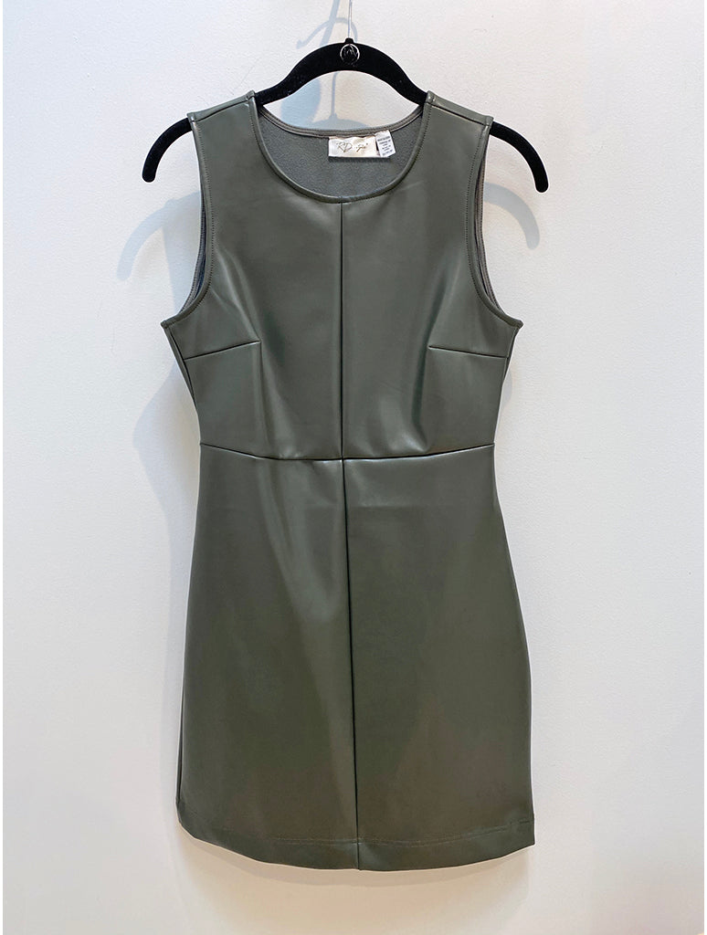 RD Style Faux Leather Tank Dress in Olive