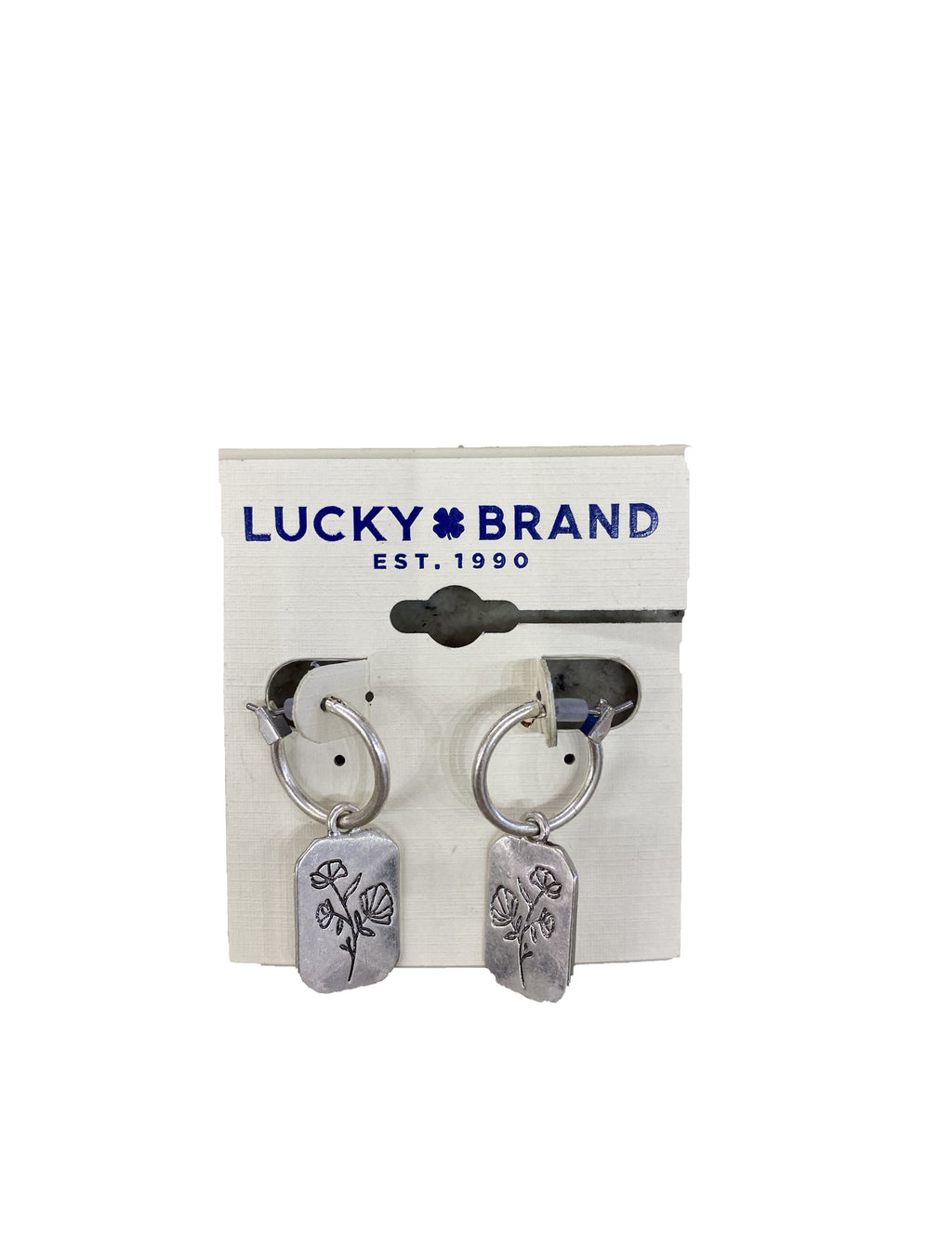 Lucky Brand Imprinted Flower Earrings in Silver