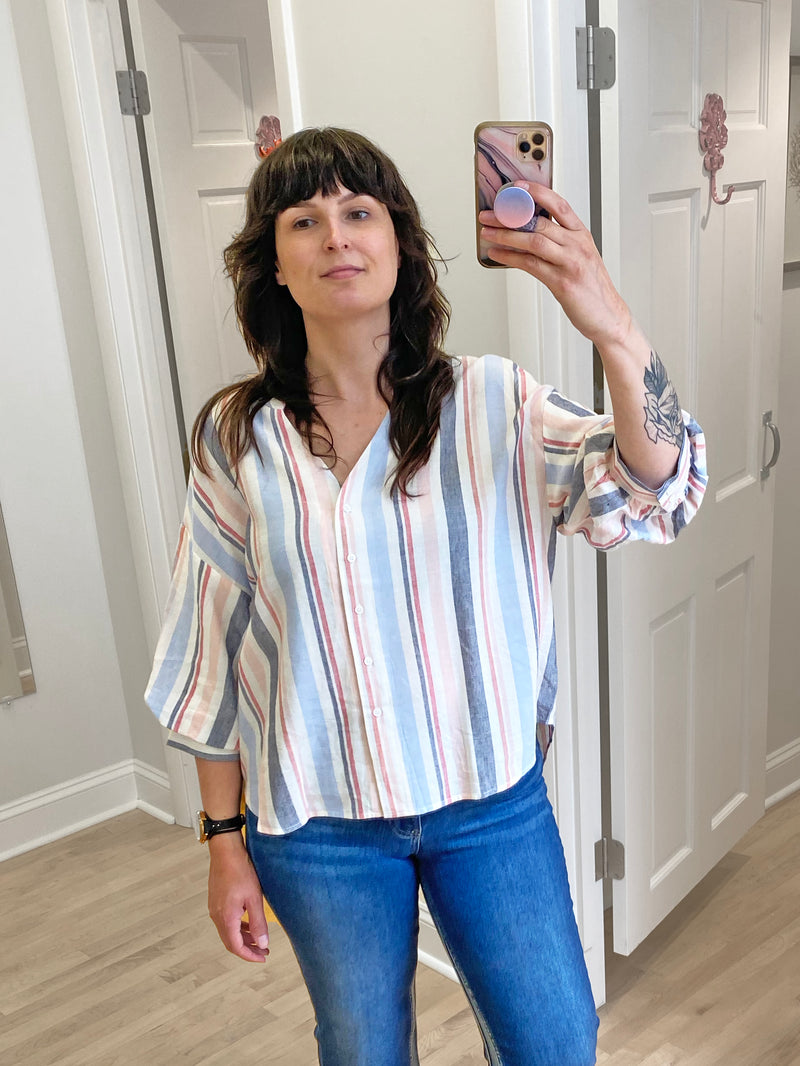 Skies Are Blue Striped Puff Sleeve Blouse in Pink Multi