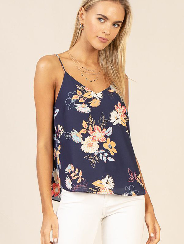Skies Are Blue Floral Cami in Navy/Coral
