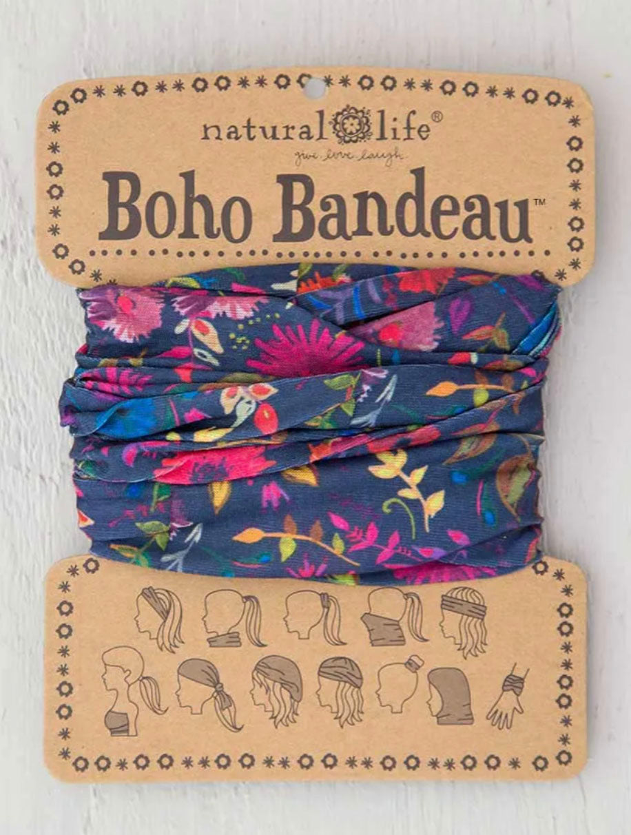 Natural Life Boho Bandeau in Wild Flower Navy Print
