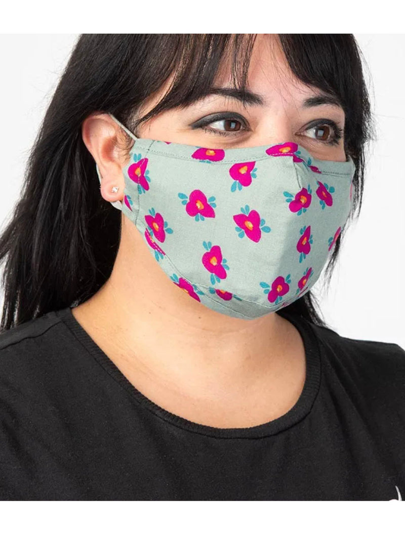 Natural Life Mask in Grey/Pink Floral