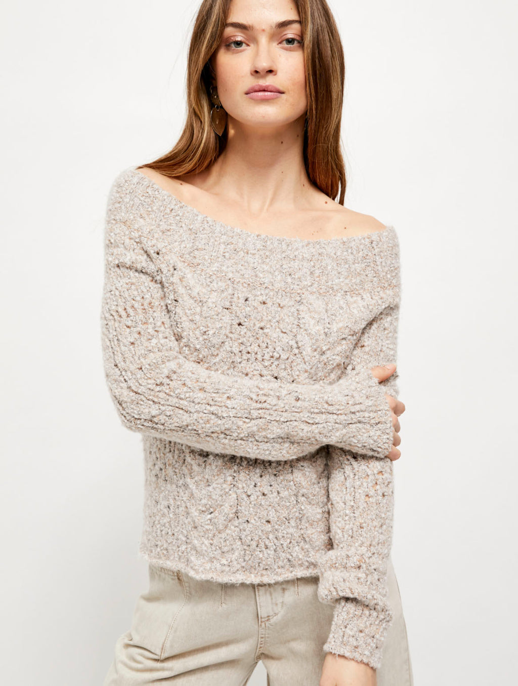 Free People Avalon Pullover in Conch Shell